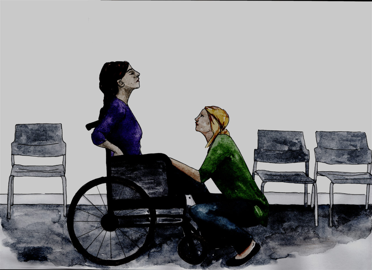 An illustration of a disabled woman in a refuge