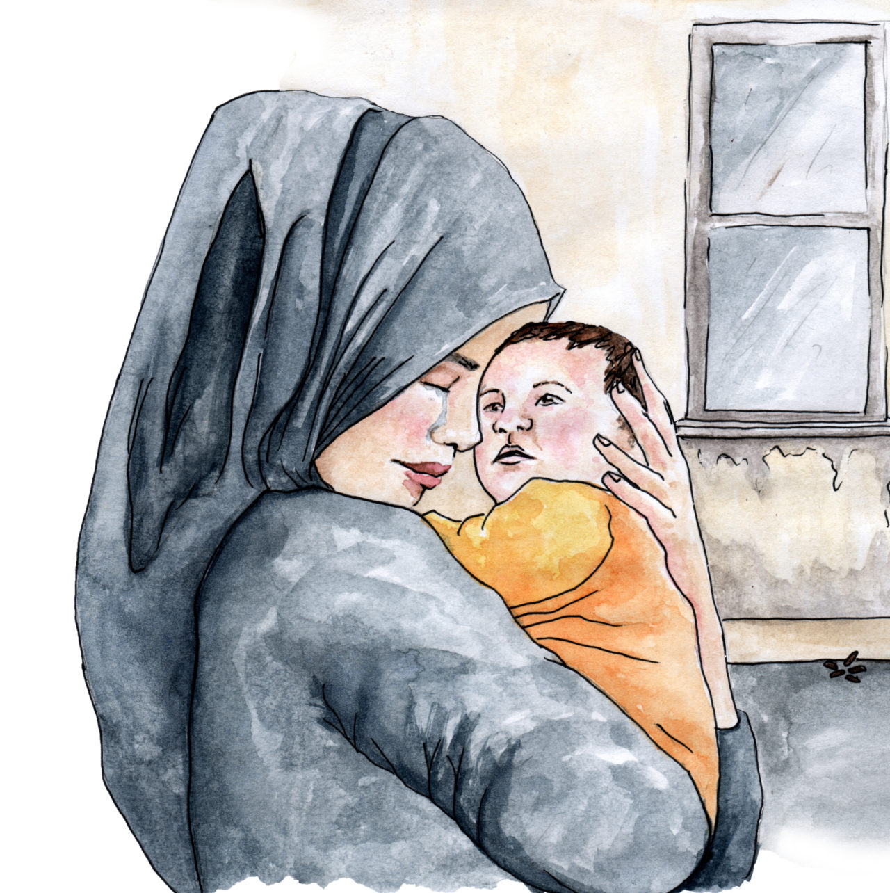 An image of a woman hugging her baby in a refuge