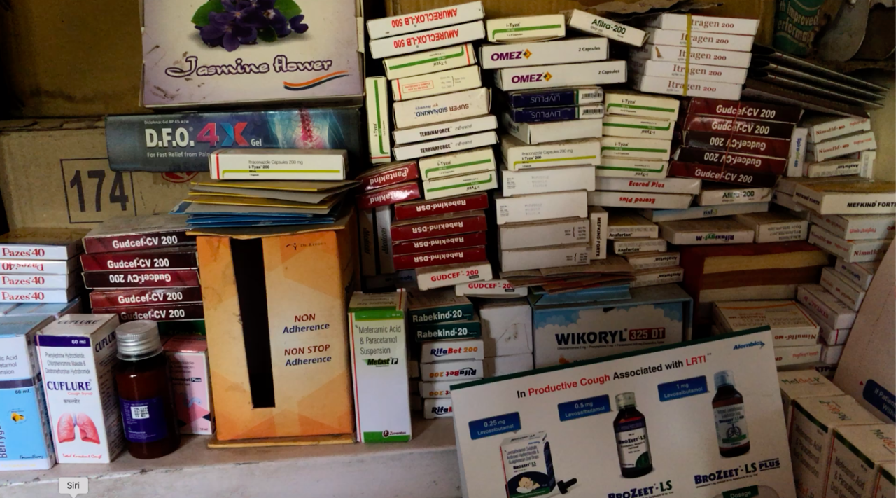 Boxes of antibiotics piled up in the clinic of a quack doctor