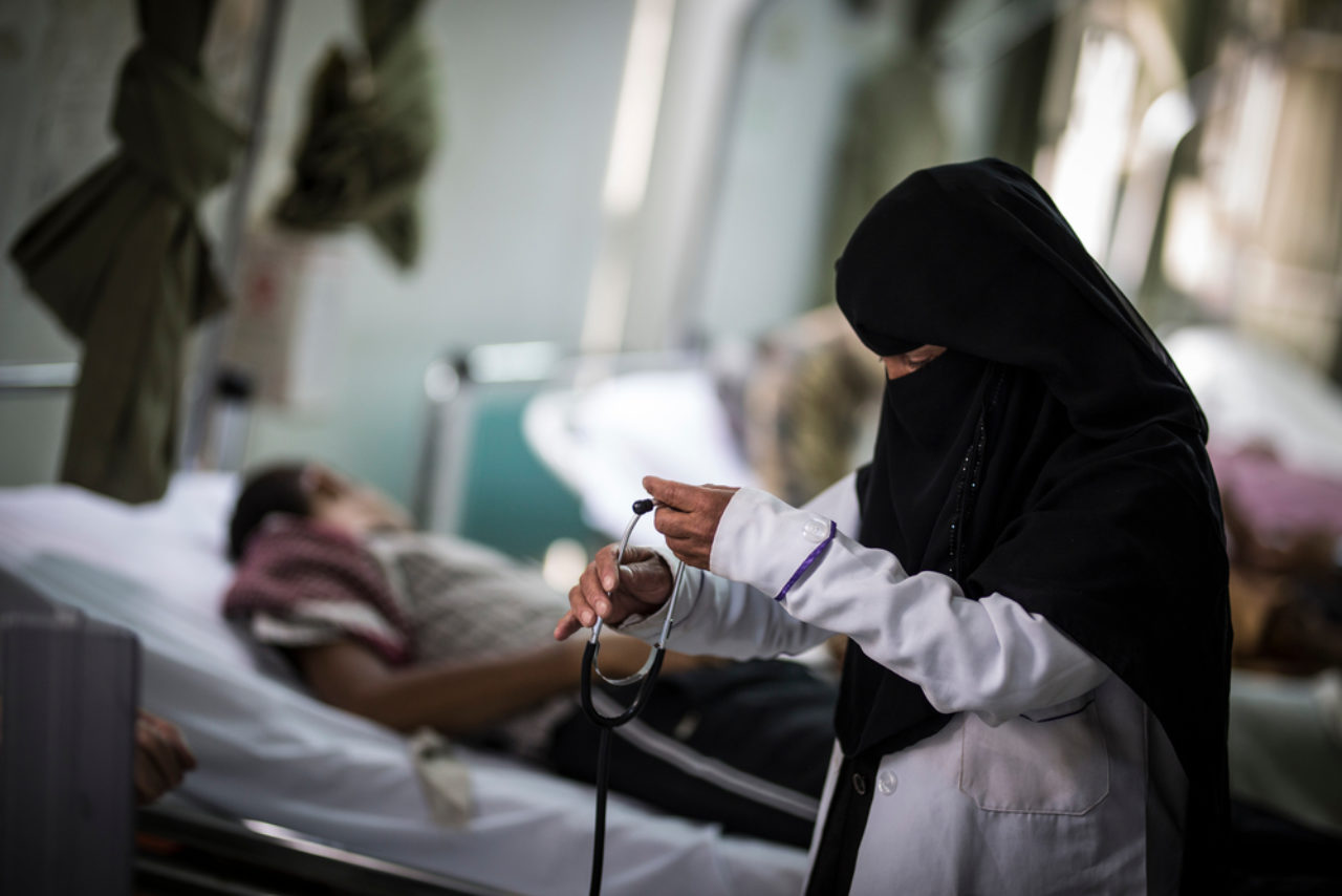 A nurse attends her patient in Al Koweit university hospital in autumn 2017