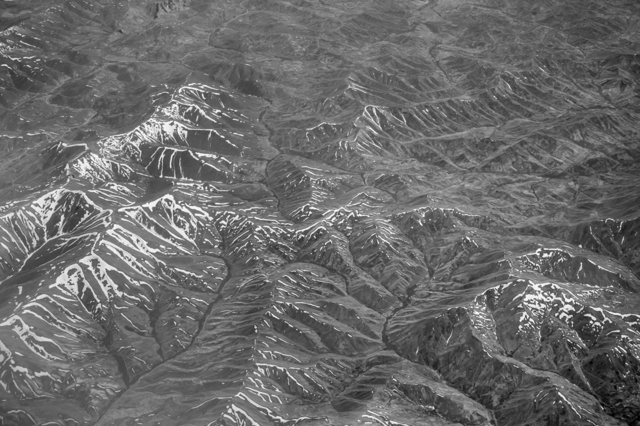 Aerial view of Kashmir mountains, near the border of Pakistan and Afghanistan