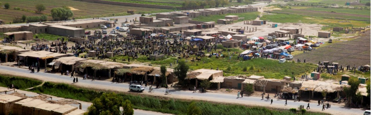 A panoramic view of a market in Nawa