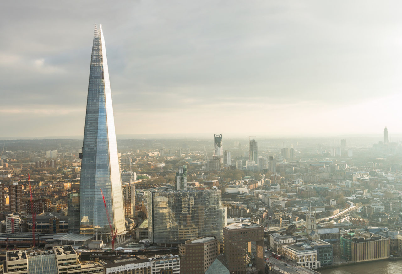 The Shard, the UK's tallest building, set against London's skyline.