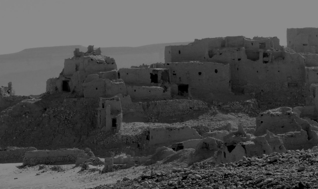 Ruins in the desert in the Yemen province of Shabwa