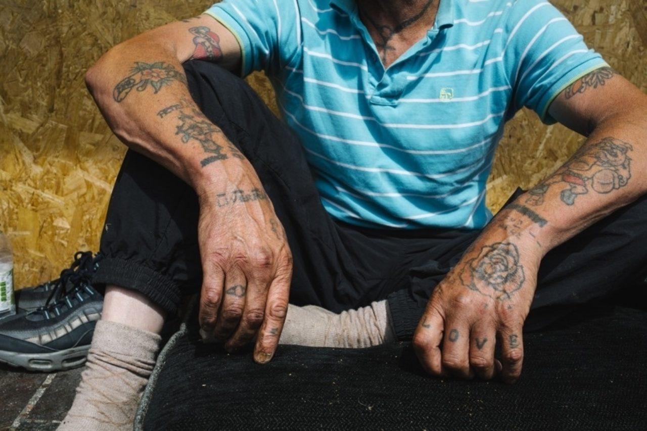 A homeless man, Northampton, 2018